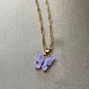 Lavender & gold Butterfly Necklace